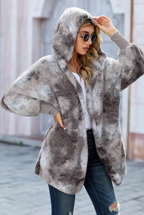Nora Womens Tie Dye Soft Fleece Hooded Open Front Coat Gray