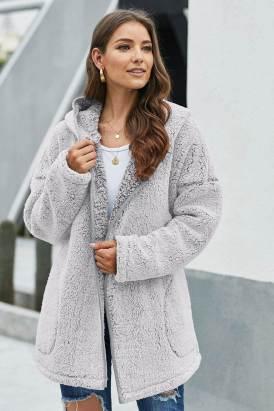 Noya Women's Leave Them Waiting Light Gray Wubby Coat