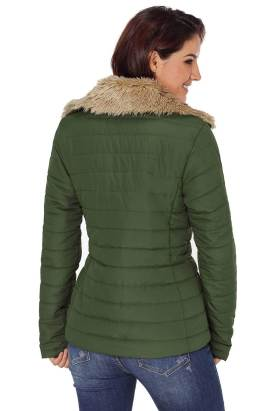 Nyako Women Army Green Faux Fur Collar Trim Black Quilted Jacket