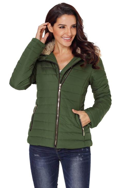 Nyako Women Faux Fur Collar Trim Black Quilted Jacket Army Green