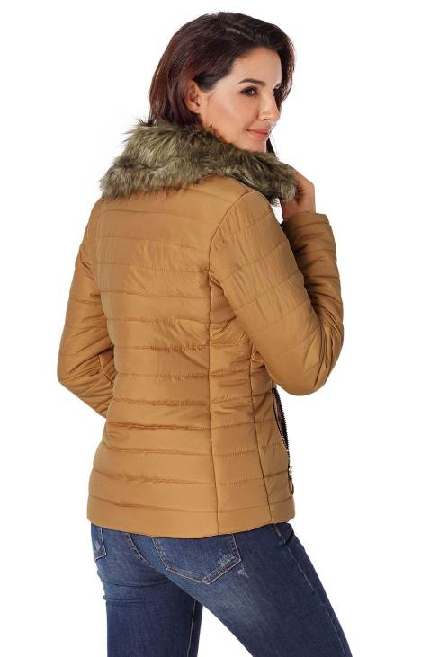 Nyako Womens Black Quilted Jacket Camel Faux Fur Collar Trim