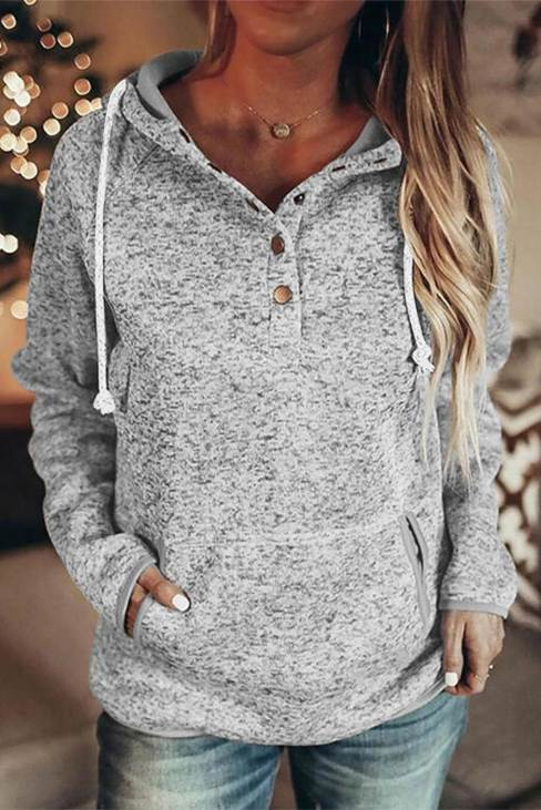 Olinda Women's Pocket Design Buttoned Casual Hoodie
