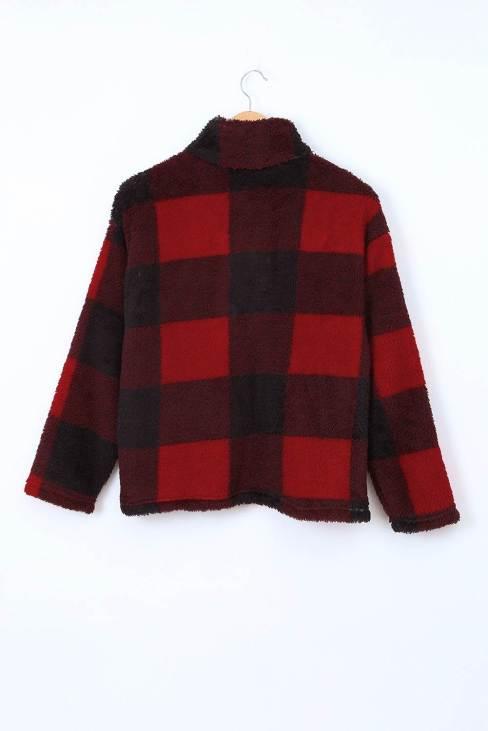 Ophira Women's Red Plaid Zip Collar Plush Pullover Sweatshirt