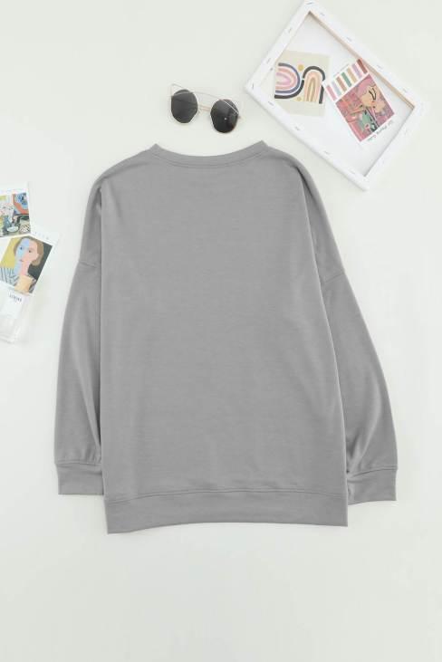 Oprah Womens Gray Sweatshirt Crew Neck Long Sleeve