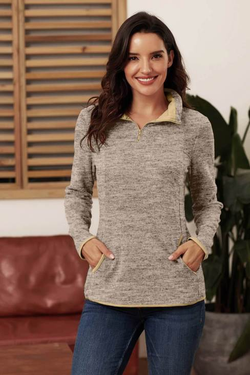 Peggy Women Quarter Zip Pullover Sweatshirt Khaki