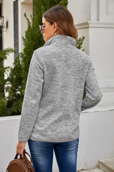Peggy Women's Gray Quarter Zip Pullover Sweatshirt