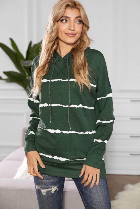 Pelagia Women Drawstring Hoodie with Side Split Green Tie-dye Striped
