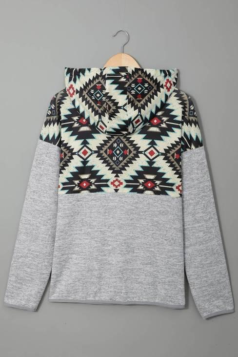 Phoebe Women Gray Tribal Geometric Print Hoodies with Pocket