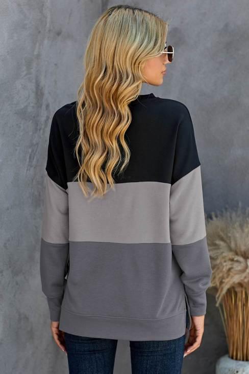 Qamar Women's Colorblock Black Contrast Stitching Sweatshirt with Slits