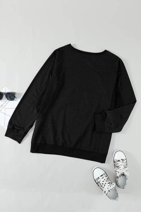 Rachel Women's Wash Fleece Pullover Sweatshirt Black