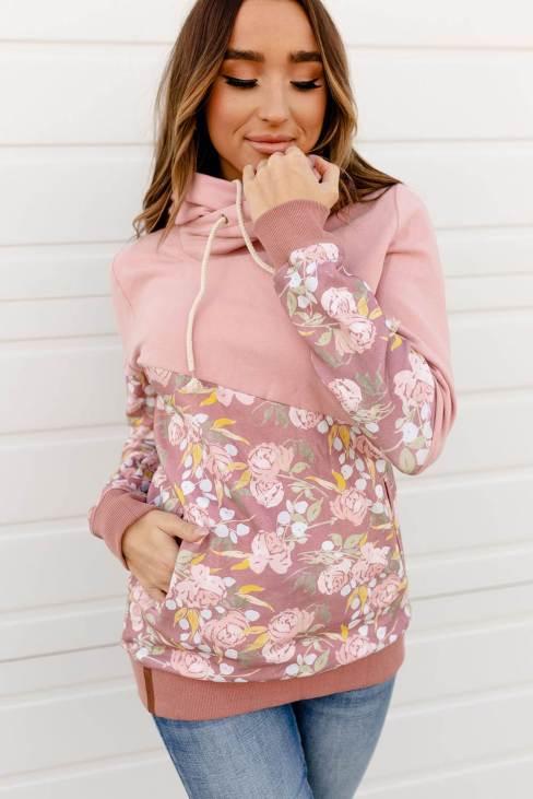 Rhoda Women Floral Splicing Cowl Neck Hoodie Pink