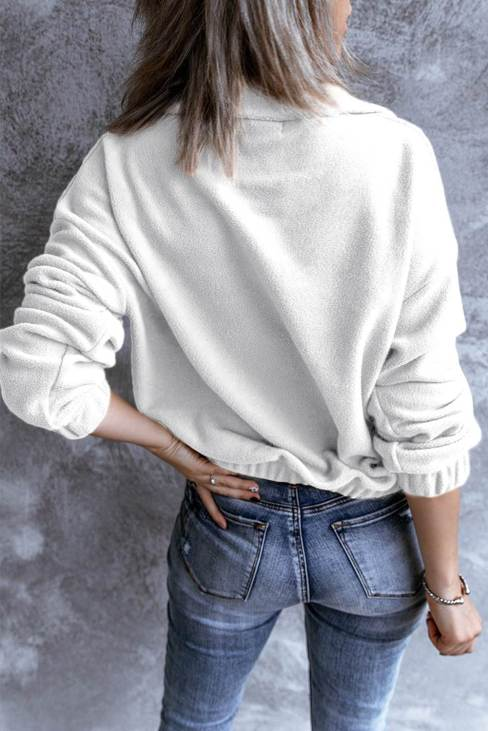 Rowena Womens Turn-down Collar Long Sleeve Zipper Fleece Pullover Sweatshirt White