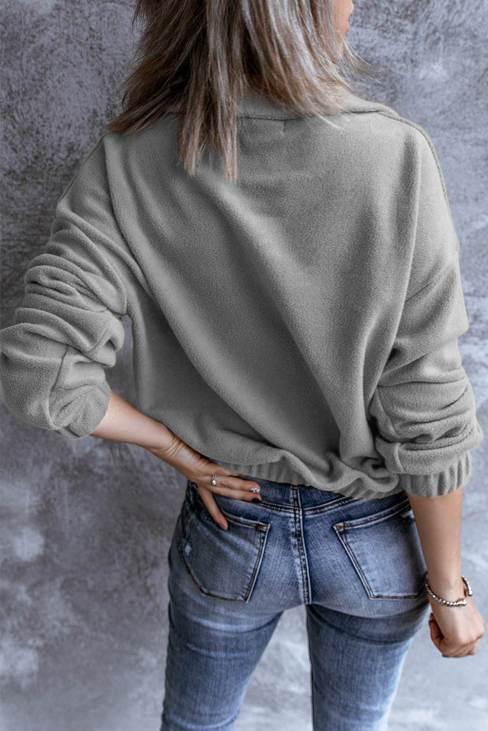 Ruth Women's Zipper Fleece Pullover Sweatshirt Turn-down Collar Long Sleeve Gray