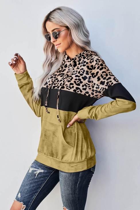 Samira Women Tie Dye Yellow Colorblock Leopard Hoodie