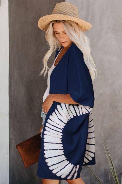 Sarah Women's Tie Dye Open Front Kimono Cardigan Blue