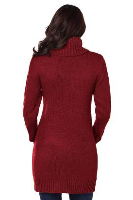 Shela Womens Cowl Neck Cable Knit Sweater Dress Red