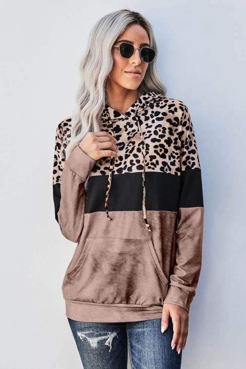 Tanya Women Leopard Tie Dye Colorblock Hoodie