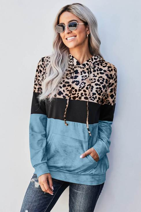 Tulla Women's Leopard Tie Dye Colorblock Hoodie Blue