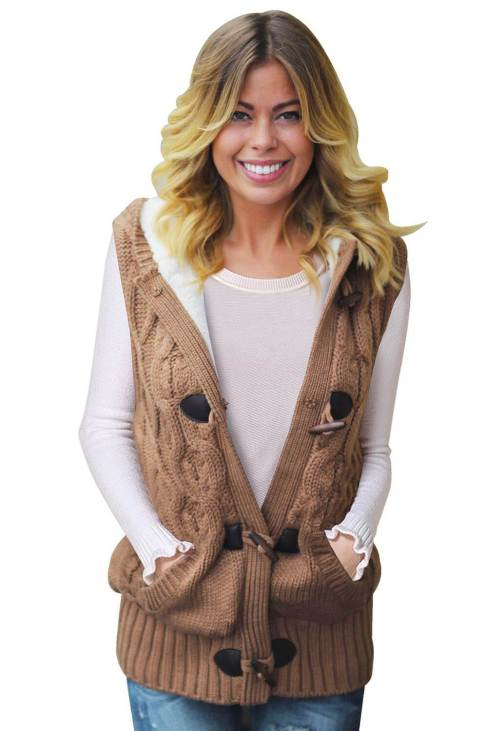 Linnea Womens Khaki Cable Knit Hooded Sweater Vest