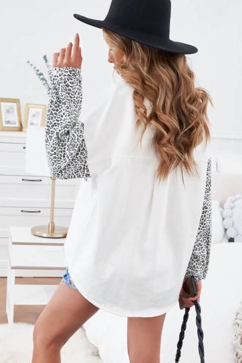 Linnea Women's White Contrast Leopard Denim Jacket