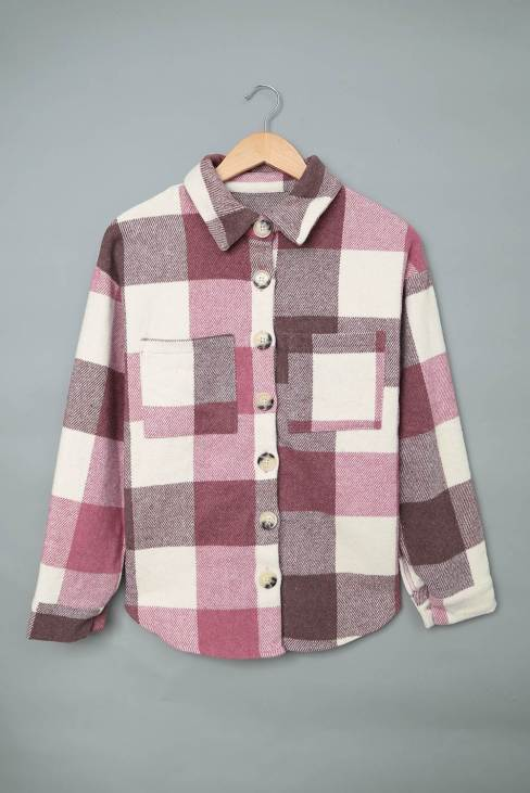 Mathea Women Plaid Color Block Buttoned Long Sleeve Jacket with Pocket