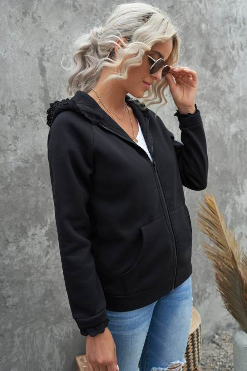 Nabila Womens Zip-up Lace Trim Hooded Coat Black