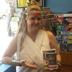 Hippolyta showing off Funko pop