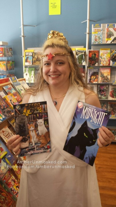 Hippolyta showing off Hero Cats comics
