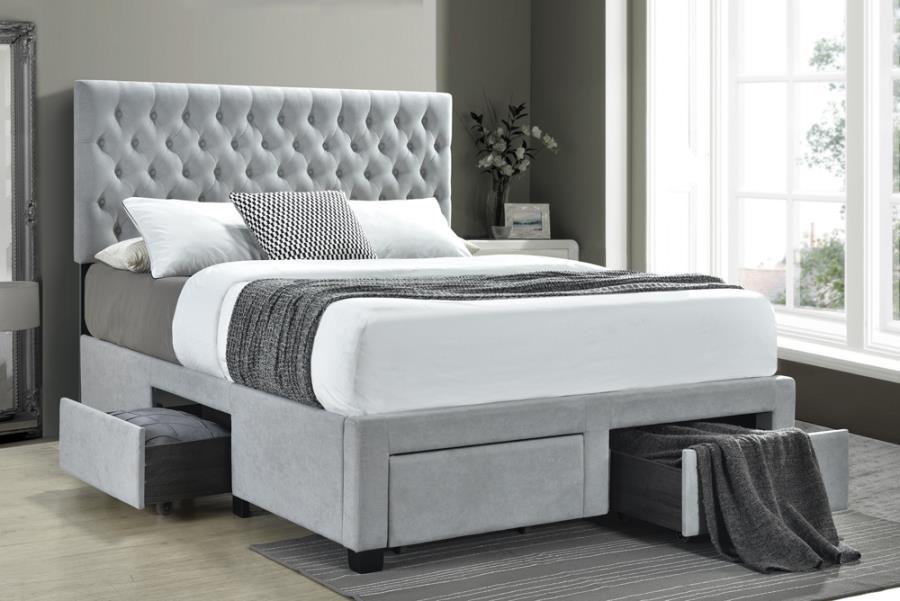 305878q house of hampton soledad light grey fabric tufted headboard storage queen bed set