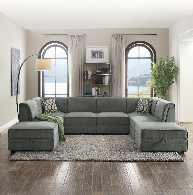 acme 53780 81 6 pc bois gray velvet modular sectional sofa