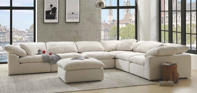 acme 55130 31 6 pc naveen ivory linen fabric down feather foam seating modular sectional sofa