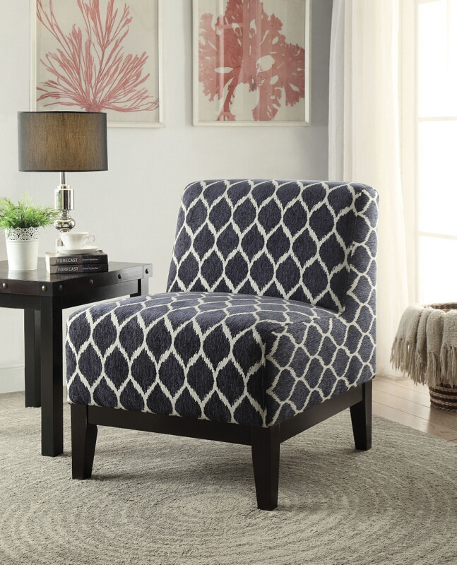 blue pattern accent chair rocking vs glider for nursery acme 59501 hinte rounded diamond dark fabric with wood legs