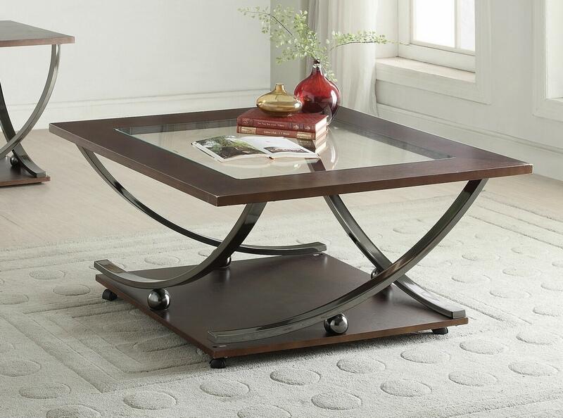 acme 80355 latitude run rossana isiah black nickel finish metal frame clear glass top coffee table