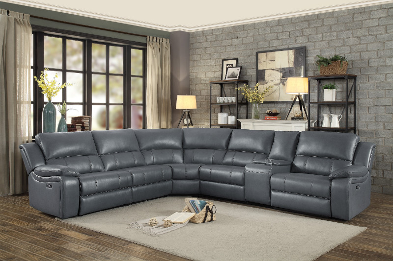 homelegance 8260gy 6pc 6 pc falun gray leather gel match sectional sofa with power motion recliners