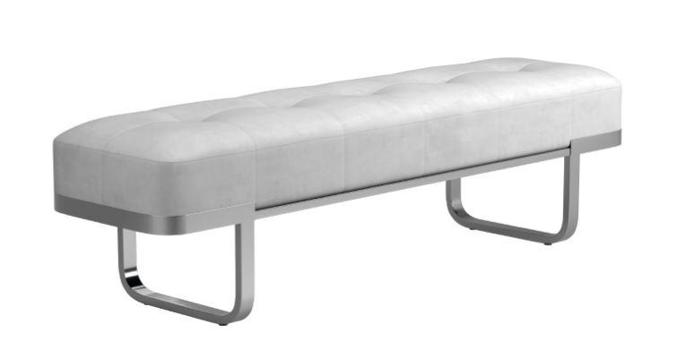 910251 everly quinn caulksville off white velvet ottoman bench with chrome legs
