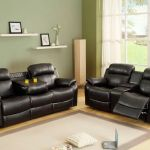 9724blk 2pc 2 Pc Marille Black Bonded Leather Match Double Reclining Sofa And Love Seat Set