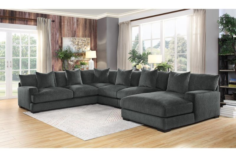 he 9857dg 5pc 5 pc worchester dark gray chenille fabric modular sectional sofa