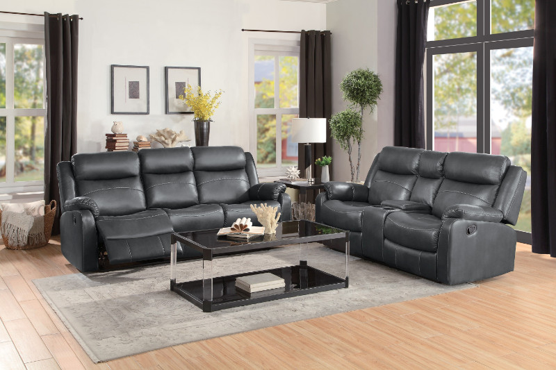 homelegance he 9990gy sl 2 pc yerba gray polished microfiber sofa and love seat lay flat recliner ends
