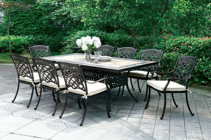 cm ot2125 9 pc charissa antique black metal frame and tile top patio table and chairs