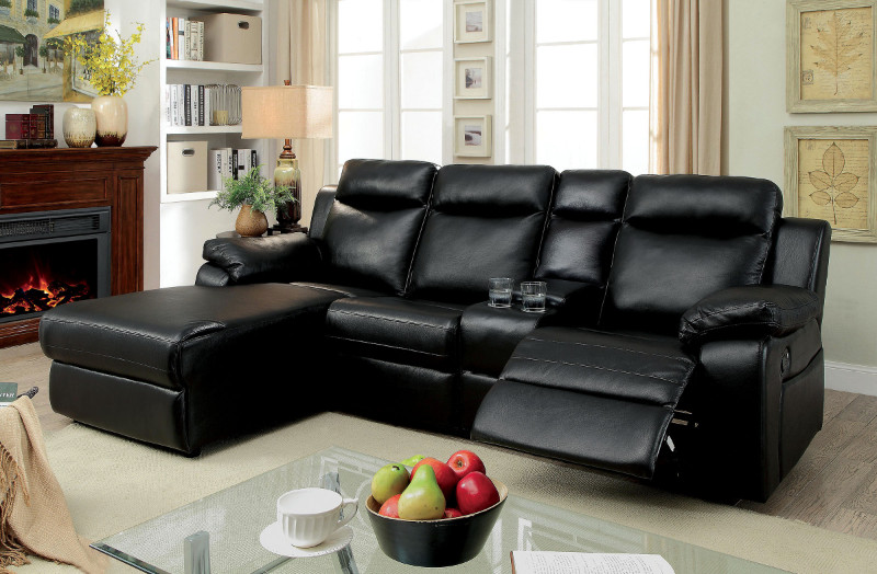 cm6781bk 2 pc hardy black faux leather sectional sofa with chaise and recliner