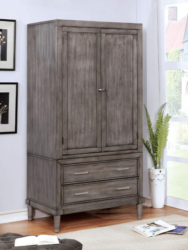 cm7556ar daphne gray finish wood clothing armoire stand alone closet cabinet