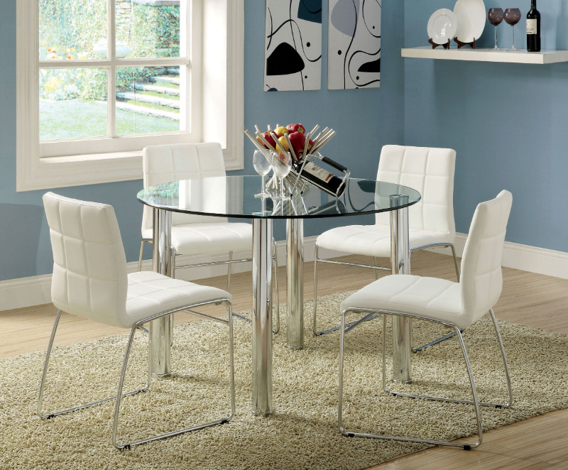 black dining room chairs with chrome legs wheelchair hitch cm8320t wh 5 pc kona 45 round glass table set furniture of america