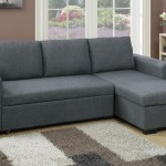 F6931 2 Pc Everly Blue Grey Polyfiber Fabric Sectional Sofa Set Pull Out Sleep Area