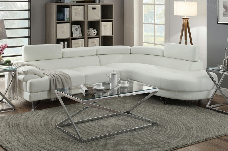 poundex f6985 2 pc orren ellis longworth white faux leather sectional sofa set rounded chaise
