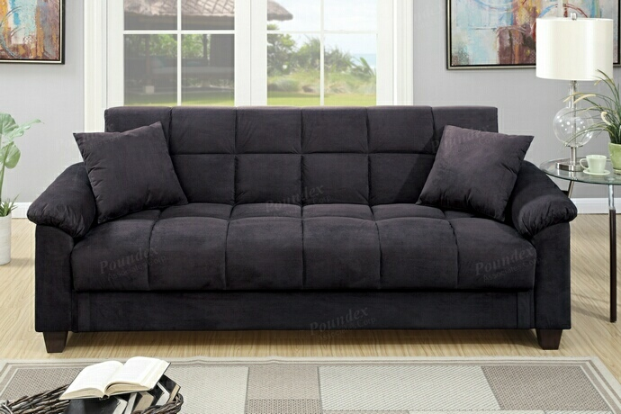 sofa microfiber fabric thonet bentwood poundex f7888 jasmine ebony adjustable storage collection upholstered futon