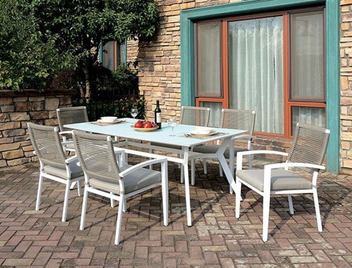 cm ot2140 7 pc rosecliff heights kurtz arisha white metal frame tempered glass top patio table and chairs