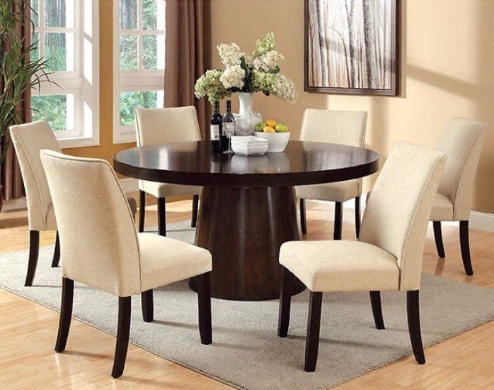 cm3849t 3556sc 7pc 7 pc havana espresso finish wood 60 round dining table set