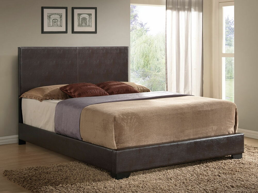 acme 14370q ireland brown leather like vinyl padded headboard footboard and rails queen size bed set