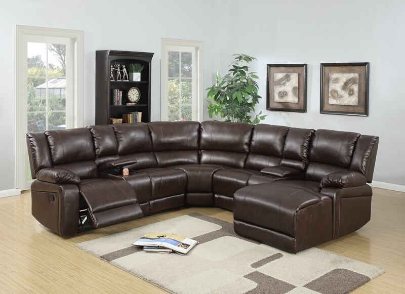 poundex f6746 5 pc red barrel studio lagarde brown bonded leather sectional sofa with chaise and recliners