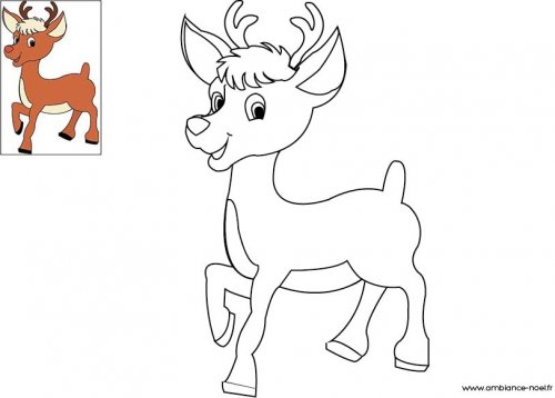 dessin colorier de cerf de noel a imprimer dessincoloriage